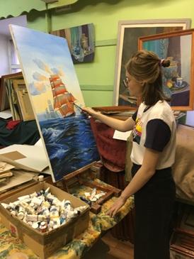 Работа в студии, малый зал, морская тематика, масло.